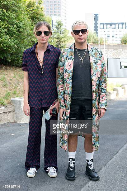 Fashion editor for GQ Gary Armstrong wearing Joseph pyjama suit Saint Laurent trainers and Ray Ban sunglasses with Fashion editor for GQ Luke Day...