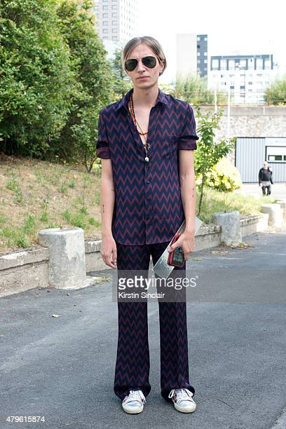 Fashion editor for GQ Gary Armstrong wearing Joseph pyjama suit Saint Laurent trainers and Ray Ban sunglasses on day 4 of Paris Fashion Week Menswear...