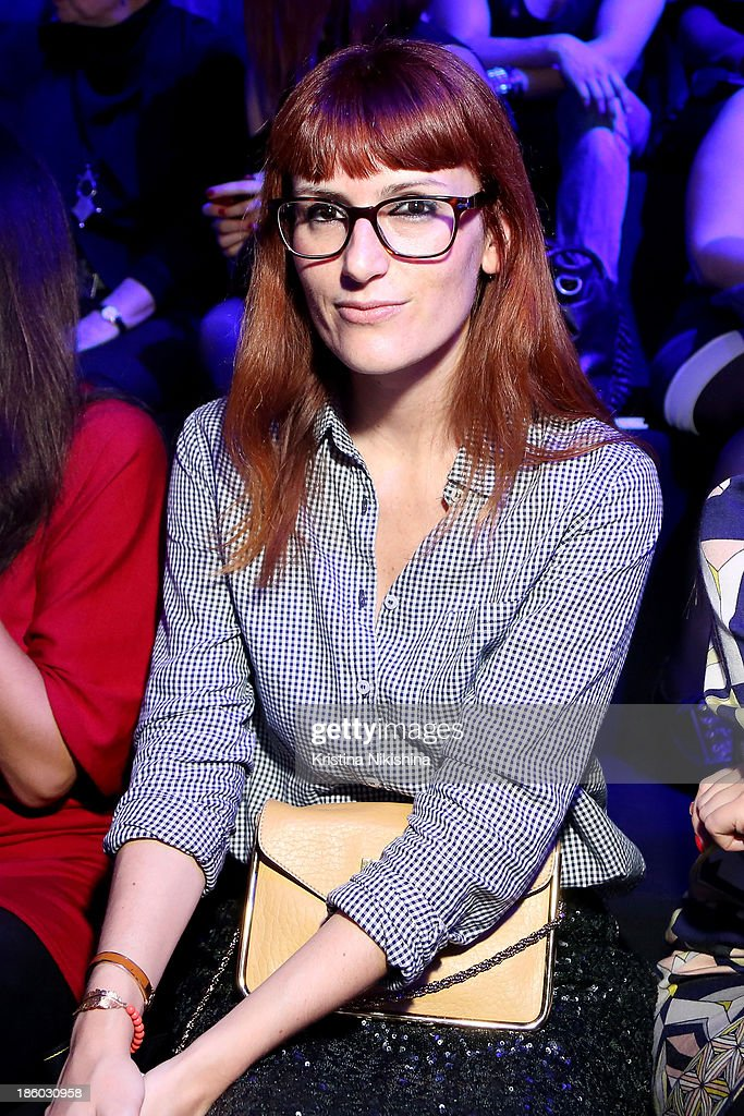 Fashion Editor for Grazia Italy Sara Moschini attends the Mercedes-Benz Fashion Week Russia S/S 2014 on October 27, 2013 in Moscow, Russia.