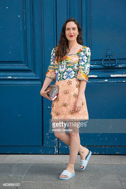 Fashion Editor for Grazia Stephanie Morcinek wearing a Dolce and Gabbana top and skirt Adidas sandals and Sandro bag day 2 of Paris Haute Couture...