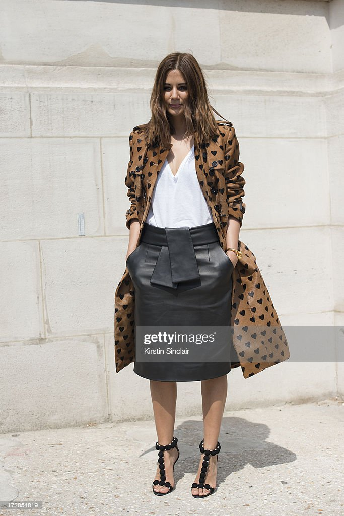Fashion Editor for Harpers Bazzar Autralia Christine Centenera wears a Burberry jacket, Balenciaga skirt, Alaia shoes and a basic t shirt on day 2 of Paris Collections: Womens Haute Couture on July 02, 2013 in Paris, France.