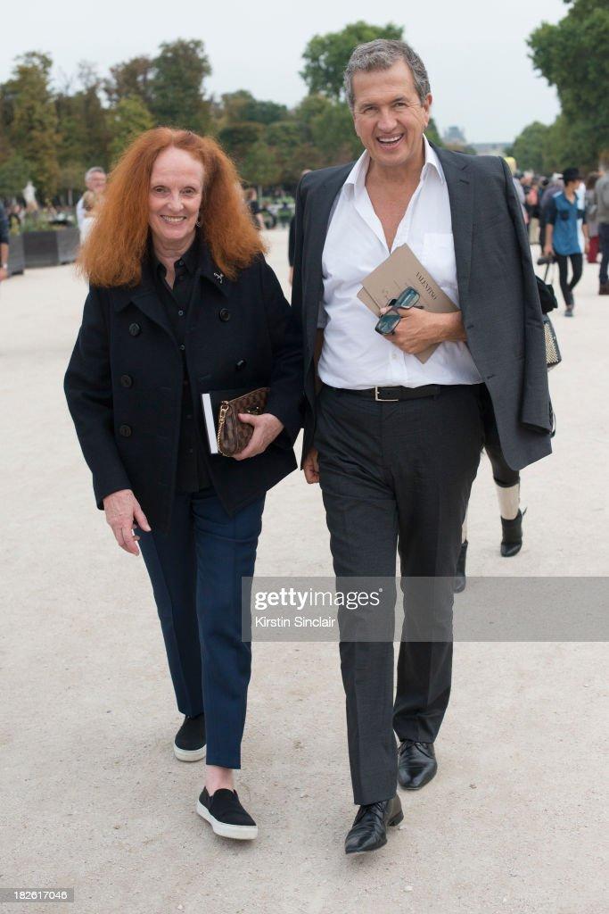 Fashion Editor for Vogue U.S Grace Coddington and Photographer Mario Testino on day 8 of Paris Fashion Week Spring/Summer 2014, Paris October 01, 2013 in Paris, France.