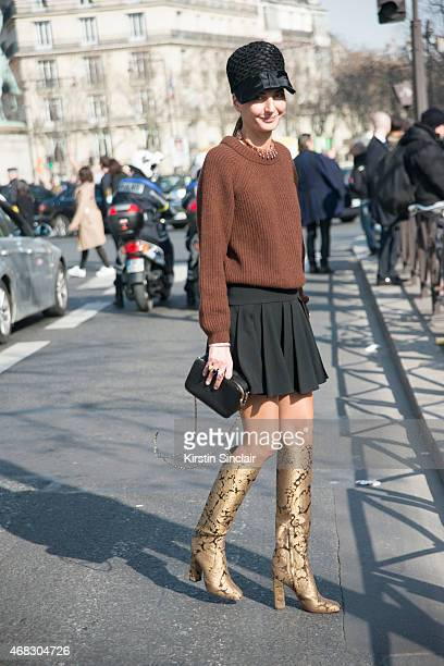 Fashion editor Giovanna Battaglia on day 9 of Paris Collections Women on March 11 2015 in Paris France