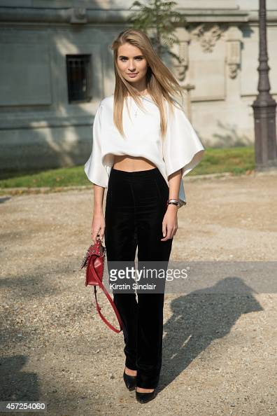 Fashion Editor Harper's Bazaar Russia Maria Kolosova is wearing a Melisyildiz bag and Ashi Studio trousers and top on day 8 of Paris Collections...