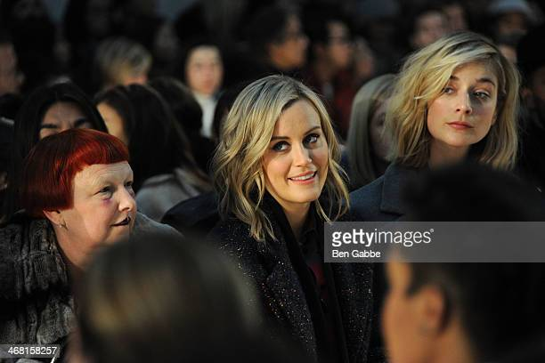 Fashion editor Lynn Yaeger with actresses Taylor Schilling and Caitlin Fitzgerald at the Thakoon fashion show during MercedesBenz Fashion Week Fall...