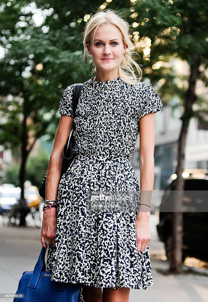 Fashion Editor Mary Kate Steinmiller is seen around Noho wearing a Proenza Schouler dress on July 31, 2014 in New York City.