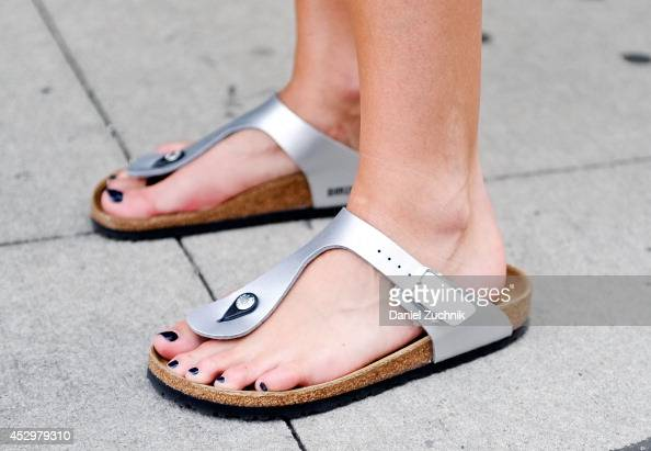 Fashion Editor Mary Kate Steinmiller is seen around Noho wearing Birkenstock shoes on July 31 2014 in New York City