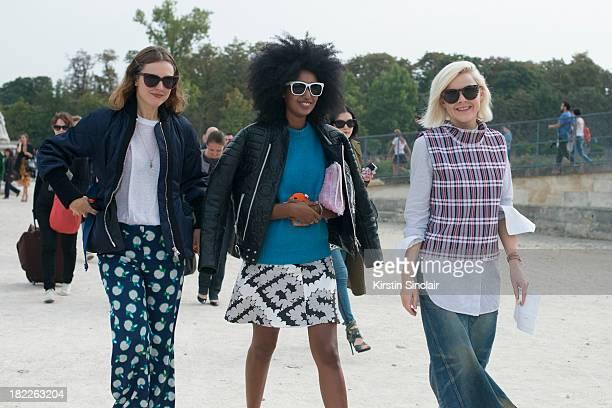 Fashion editor of Garage magazine Chloe Kerman Fashion editor of Wonderland magazine Julia SarrJamois Editor of Vogue UK Francesca Burns on day 5 of...