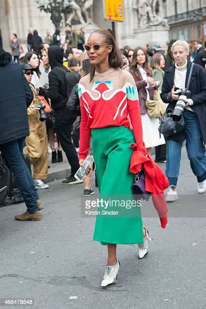 Fashion editor of Garage magazine Michelle Elie wears a Delpozo culottes and top Miu Miu sunglasses Prim by Michelle Elie bag and Balenciaga shoes on...