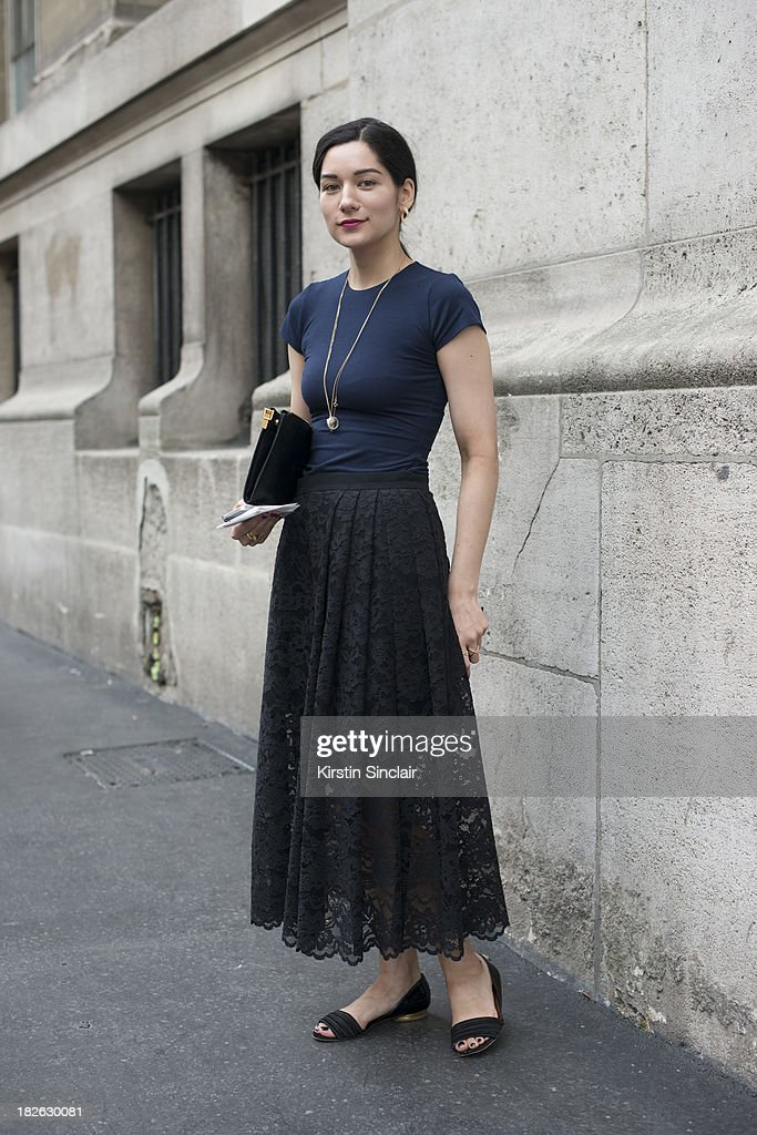 Fashion Editor of New York Mag Veronica Gledhill wears a Marni skirt, Nadia Tarr top, Marni bag and Lanvin shoes on day 7 of Paris Fashion Week Spring/Summer 2014, Paris September 30, 2013 in Paris, France.