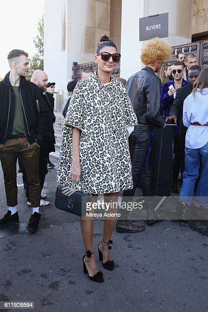 Fashion editor of W Magazine Giovanna Battaglia attends the Haider Ackermann show as part of the Paris Fashion Week Womenswear Spring/Summer 2017 on...