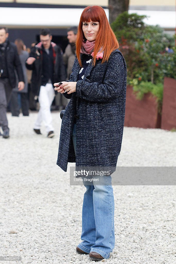 Fashion editor Sara Moschini is seen at Pitti Immagine Uomo 83 on January 9, 2013 in Florence, Italy.