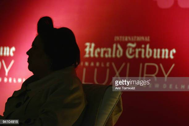 Fashion Editor Suzy Menkes' signature fringe is silhouetted on stage at The Sustainable Luxury Conference held at The Imperial Hotel on March 26 2009...