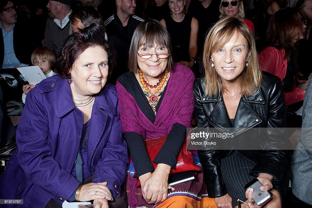 Fashion Editors Suzy Menkes Hilary Alexander and Aliona Doletskaya attend the Chapurin Pret a Porter show as part of the Paris Womenswear Fashion...