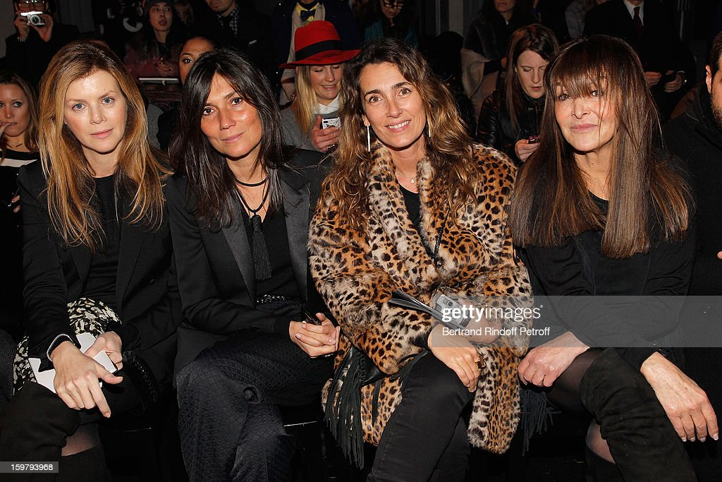 Fashion editors Virginie Mouzat of 'Le Figaro', Emmanuelle Alt of 'Vogue' , Mademoiselle Agnes of 'Canal Plus' and Babeth Djian of 'Numero' attend the Versace Spring/Summer 2013 Haute-Couture show as part of Paris Fashion Week at Le Centorial on January 20, 2013 in Paris, France.