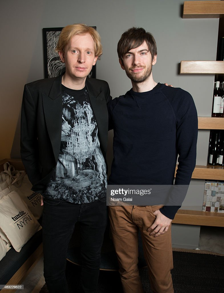 Fashion Evangelist for Tumblr Valentine Uhovski and Tumblr CEO <a gi-track='captionPersonalityLinkClicked' href=/galleries/search?phrase=David+Karp&family=editorial&specificpeople=6603515 ng-click='$event.stopPropagation()'>David Karp</a> attend Tumblr's NYFW Creators Dinner at Cosme NYC on February 11, 2015 in New York City.