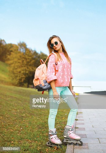 Fashion, extreme, youth and people concept - pretty stylish hips : Stock Photo