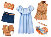 Fashion female clothes collage.Women girl's set of modern wear.Isolated apparel.