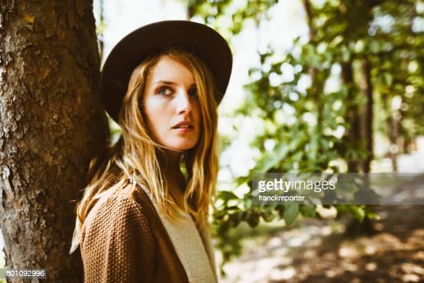 fashion folk woman portrait in the nature
