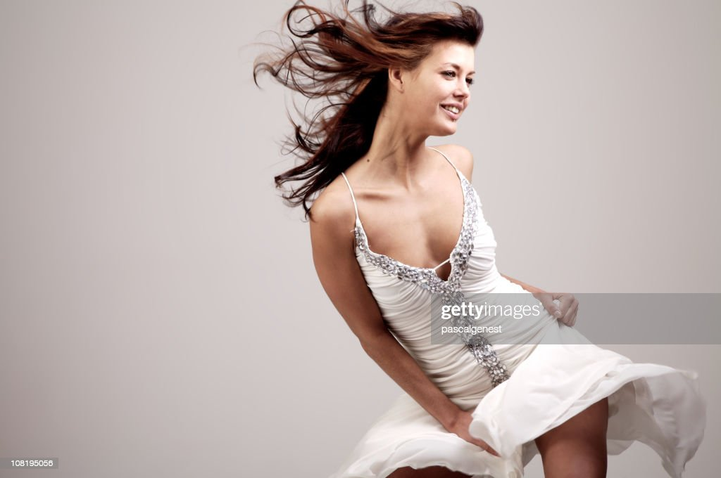 fashion girl with wind in the hair