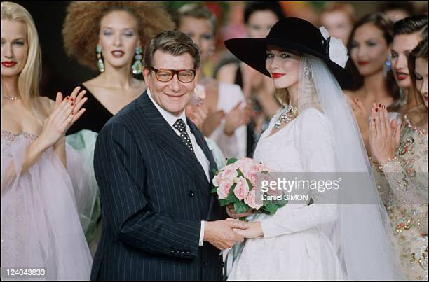 Fashion Haute Couture Fall Winter 96 97 in Paris France in July 1996 Yves Saint Laurent and Claudia Schiffer