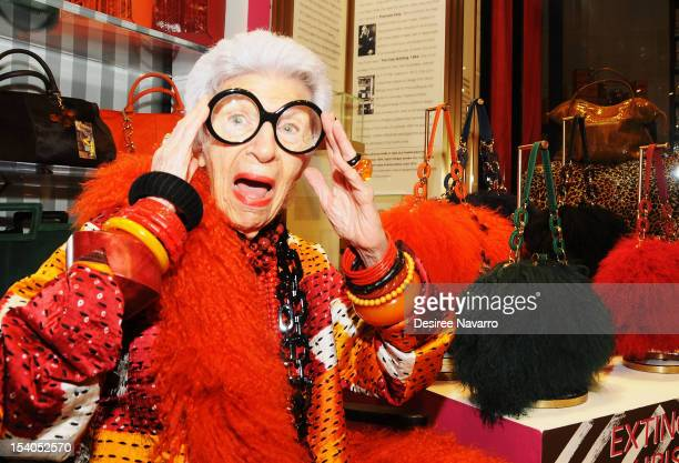 Fashion Icon Iris Apfel attends the Iris Apfel Handbag Collection Launch at Henri Bendel on October 12 2012 in New York City