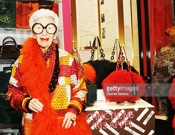 Fashion Icon Iris Apfel shows her handbags at the Iris Apfel Handbag Collection Launch at Henri Bendel on October 12 2012 in New York City