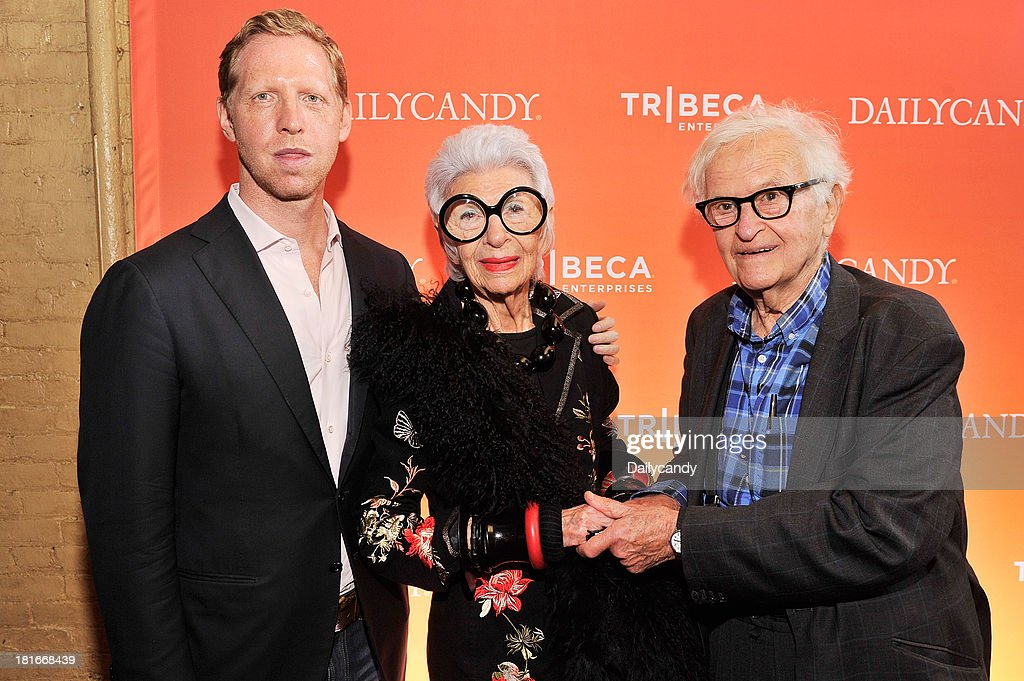 CANDY -- 'Fashion in Film' at Tribeca Cinemas in New York City on Thursday September 19, 2013 -- Pictured: (l-r) Filmmaker Matt Tyrnauer, filmmaker <a gi-track='captionPersonalityLinkClicked' href=/galleries/search?phrase=Albert+Maysles&family=editorial&specificpeople=683587 ng-click='$event.stopPropagation()'>Albert Maysles</a>, and Iris Apfel attend 'Fashion in Film,' a first-of-its-kind multi-platform event. --