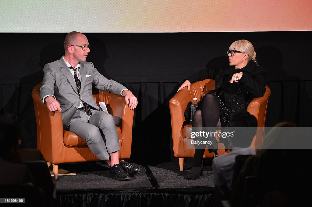 CANDY -- 'Fashion in Film' at Tribeca Cinemas in New York City on Thursday September 19, 2013 -- Pictured: (l-r) Parsons Dean of Fashion Simon Collins and production designer Catherine Martin participate in a Q&A session at 'Fashion in Film,' a first-of-its-kind multi-platform event. --
