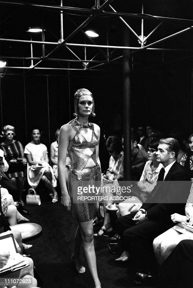 Fashion in the sixties In France On July 28 1967 Paco Rabanne metal mini dress