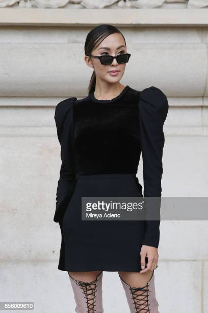Fashion influencer Chriselle Lim attends the Elie Saab show as part of the Paris Fashion Week Womenswear Spring/Summer 2018 on September 30 2017 in...