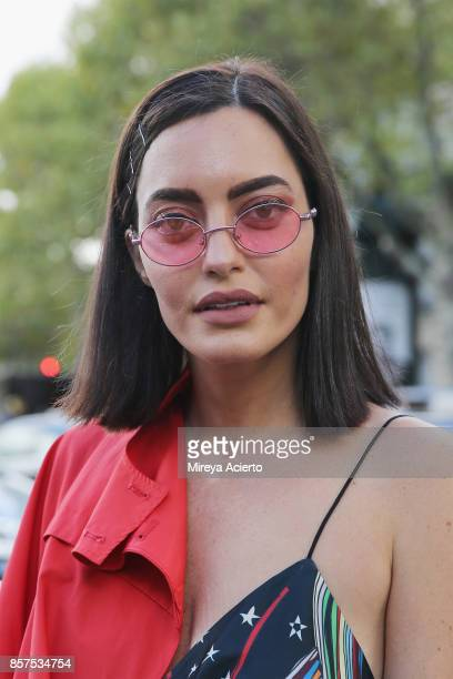 Fashion influencer Karen Wazen Bakhazi seen during Paris Fashion Week Womenswear Spring/Summer 2018 on October 3 2017 in Paris France
