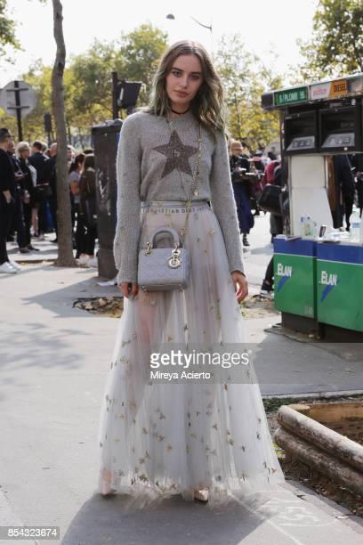 Fashion influencer Sonya Esman seen during Paris Fashion Week Womenswear Spring/Summer 2018 on September 26 2017 in Paris France