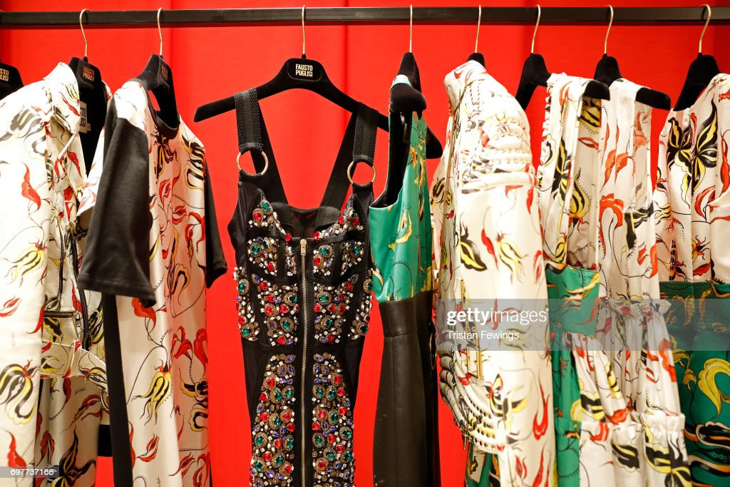 Fashion is displayed at the Fausto Puglisi Presentation during Milan Men's Fashion Week Spring/Summer 2018 on June 19, 2017 in Milan, Italy.
