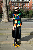 Fashion journalism student Maddy Killick wears Cheap Monday shoes Topshop skirt homemade sweater and Celine sunglasses on February 24 2015 in London...