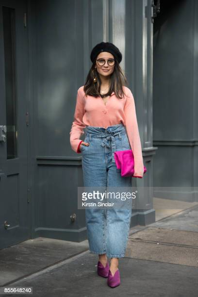 Fashion journalist and co founder of wwwandfinallycouk Anna Rosa Vitiello wears Current Elliot jeans Oliver Peoples glasses Stine Goya jumper Aeyde...