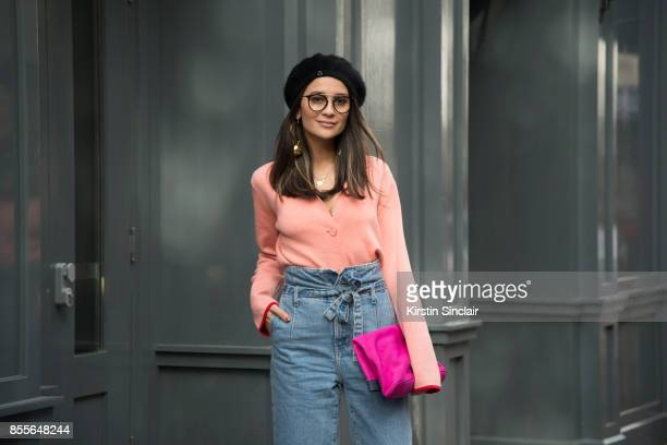 Fashion journalist and co founder of wwwandfinallycouk Anna Rosa Vitiello wears Current Elliot jeans Oliver Peoples glasses Stine Goya jumper Max V...