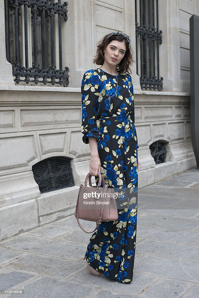 Fashion Journalist Katerina Liubchyk wears an Elena Burba Jumpsuit and accessories with a Dior bag on day 3 of Paris Collections: Men on June 28, 2013 in Paris, France.