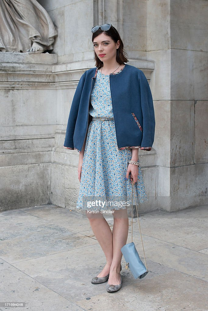 Fashion Journalist katerina Liubchyk wears Michael Kors shoes, Elena Burba dress, AMG jacket and D and G bag and sunglasses sighting on day 1 of Paris Collections: Men on June 26, 2013 in Paris, France.