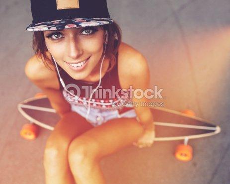 Fashion Lifestyle Beautiful Young Woman With Longboard Stock