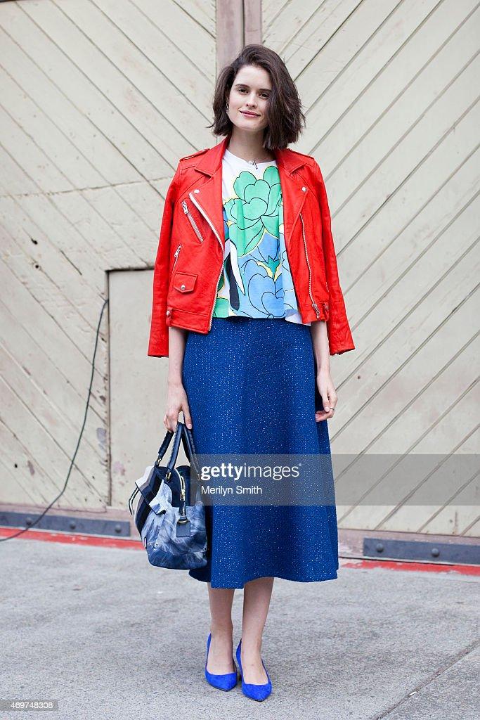 Fashion Market Editor at InStyle Australia Chloe Hill wears an Iro jacket Marni top Kate Sylvester skirt Nicholas Kirkwood shoes and Jerome Dreyfuss...