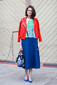 Fashion Market Editor at InStyle Australia Chloe Hill wears an Iro jacket Marni top Kate Sylvester skirt Nicholas Kirkwood shoes and Jerome Dreyfuss...