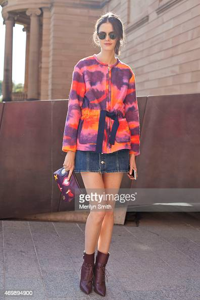 Fashion Market Editor at InStyle Magazine Chloe Hill wears an Iro jacket Lawrence Decade shoes AS clutch Rayban sunglasses and Alexa Chung for AG...