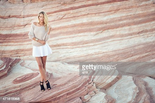 Fashion meets Nature, Woman in a Sand Stone Wave
