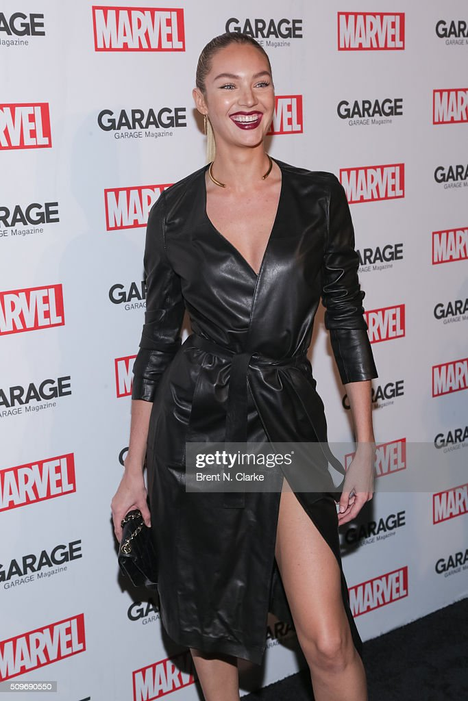 Fashion model <a gi-track='captionPersonalityLinkClicked' href=/galleries/search?phrase=Candice+Swanepoel&family=editorial&specificpeople=4357958 ng-click='$event.stopPropagation()'>Candice Swanepoel</a> attends the Marvel cover release event with Garage Magazine on February 11, 2016 in New York City.
