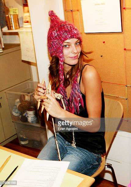 Fashion model Daria attends a knitting party hosted by IMG Models at Knit New York February 5 2004 in New York City