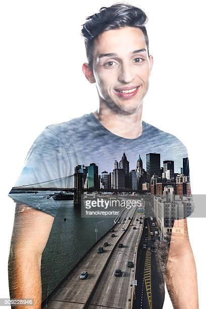 Modell Doppelbelichtung auf Neu York Stadt