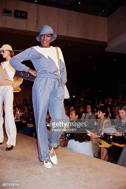 Fashion model Grace Jones wears readytowear women's fashions by French designer Emmanuelle Khanh for her French fashion house during a 19761977...