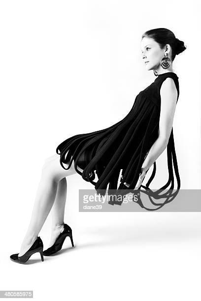 Fashion Model in Vintage Avant Garde Dress
