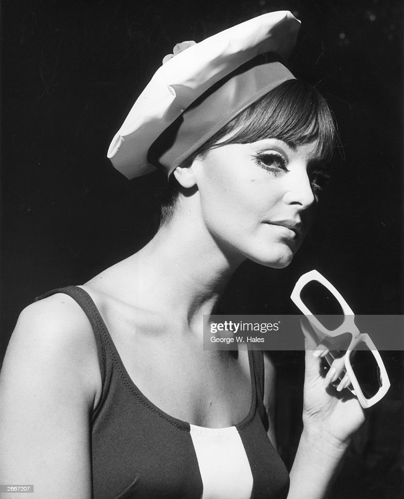 Fashion model Janice Grey wearing one of the new range of Kleinert swimming caps called the 'Sailor Splash Cap' at the Hilton Hotel in London.